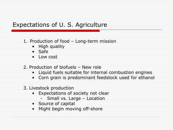 Expectations of U. S. Agriculture