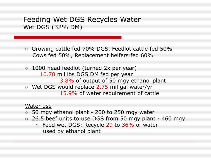 Feeding Wet DGS Recycles Water