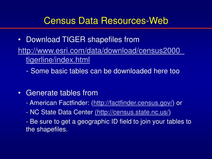 Census Data Resources-Web