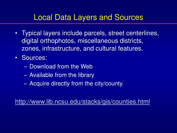 Local Data Layers and Sources