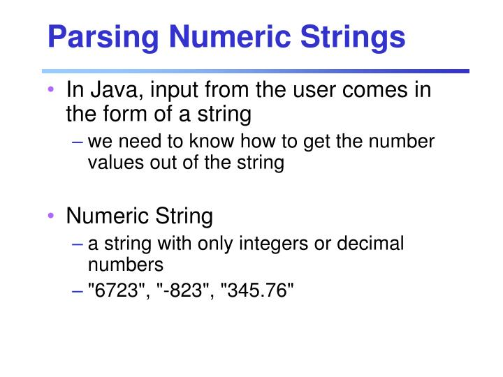 Parsing Numeric Strings