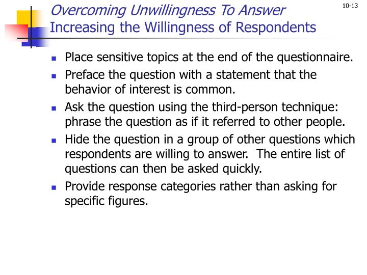 Overcoming Unwillingness To Answer