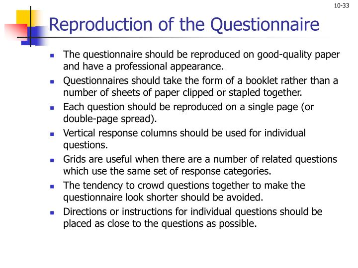 Reproduction of the Questionnaire