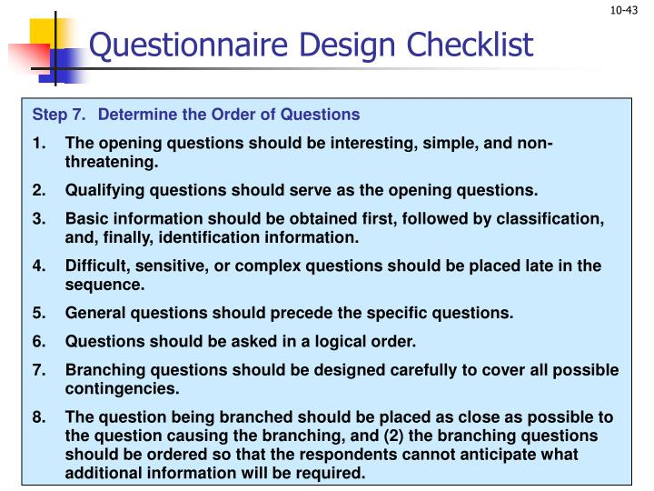 Questionnaire Design Checklist