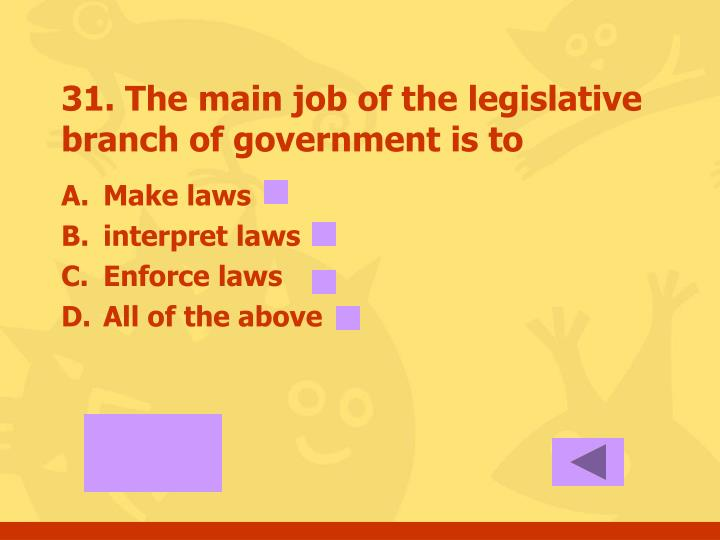31. The main job of the legislative branch of government is to