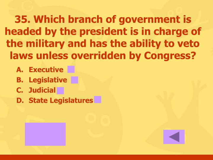 35. Which branch of government is headed by the president is in charge of the military and has the ability to veto laws unless overridden by Congress?
