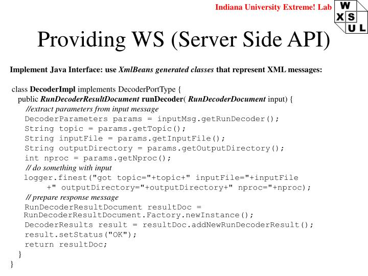 Providing WS (Server Side API)