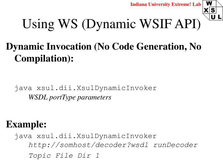 Using WS (Dynamic WSIF API)