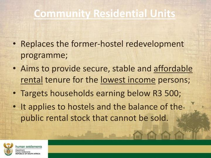 Community Residential Units