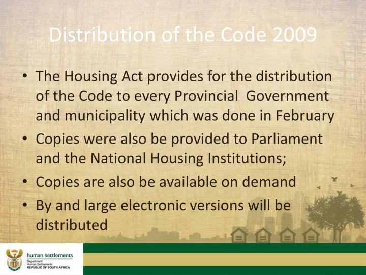 Distribution of the Code 2009