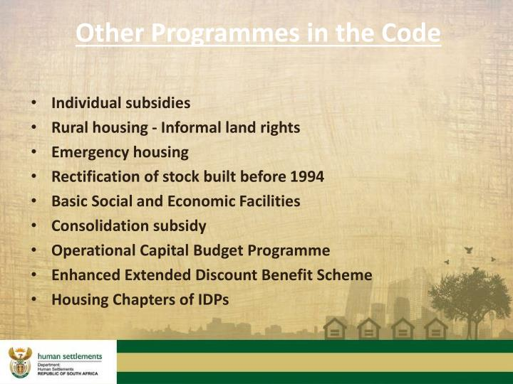Other Programmes in the Code