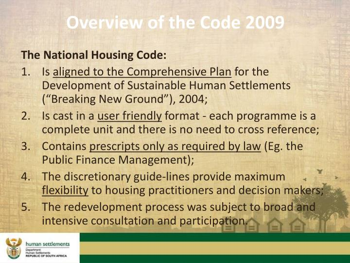 Overview of the Code 2009