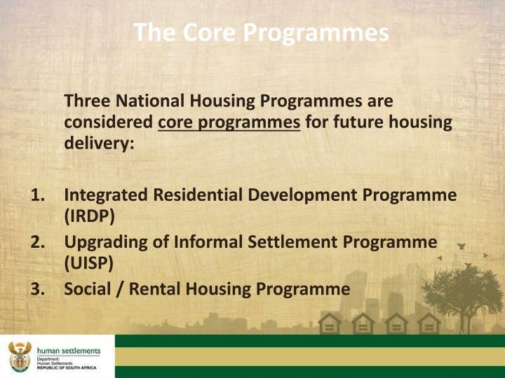 The Core Programmes