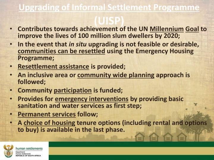 Upgrading of Informal Settlement Programme