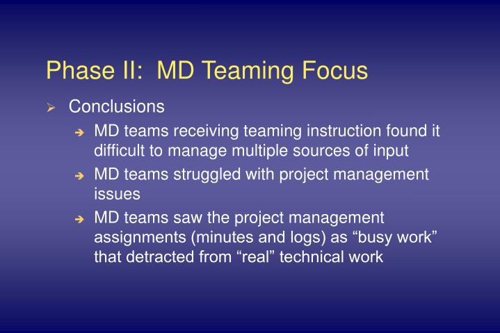 Phase II:  MD Teaming Focus