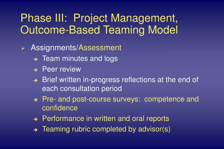 Phase III:  Project Management, Outcome-Based Teaming Model