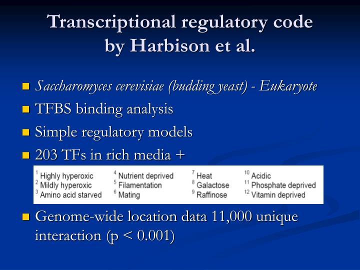 Transcriptional regulatory code