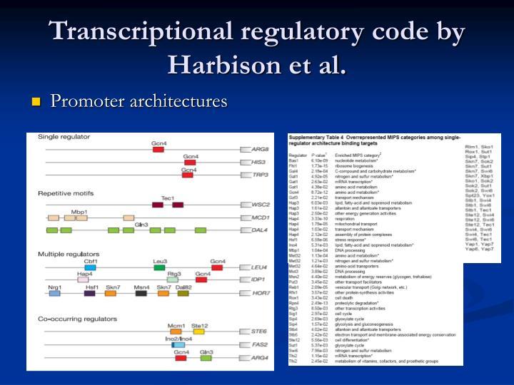 Transcriptional regulatory code by Harbison et al.