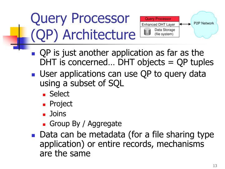QP is just another application as far as the DHT is concerned… DHT objects = QP tuples