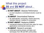 what this project is and is not about