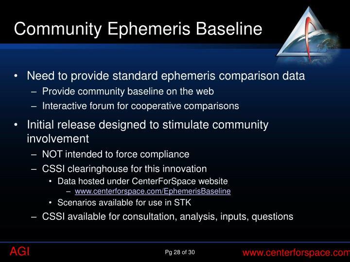Community Ephemeris Baseline