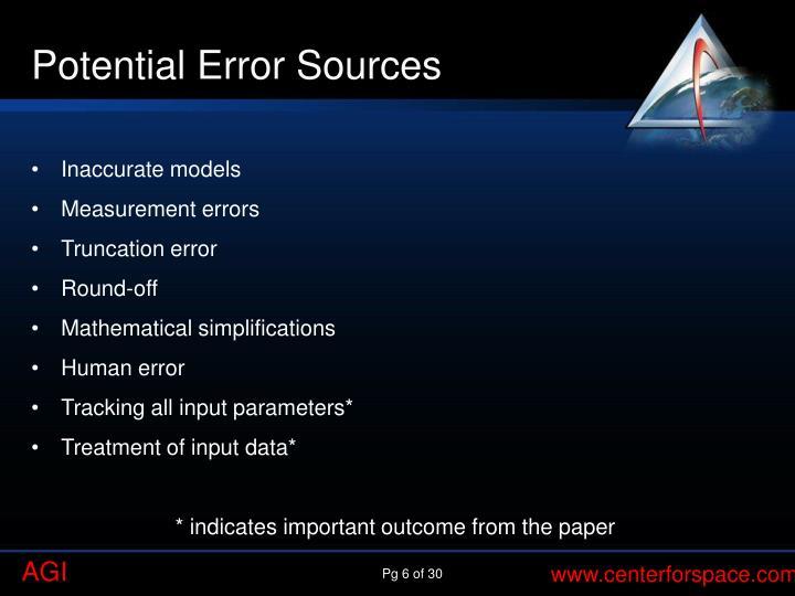 Potential Error Sources
