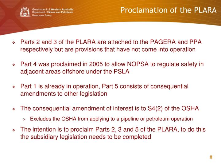 Proclamation of the PLARA