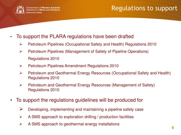 Regulations to support
