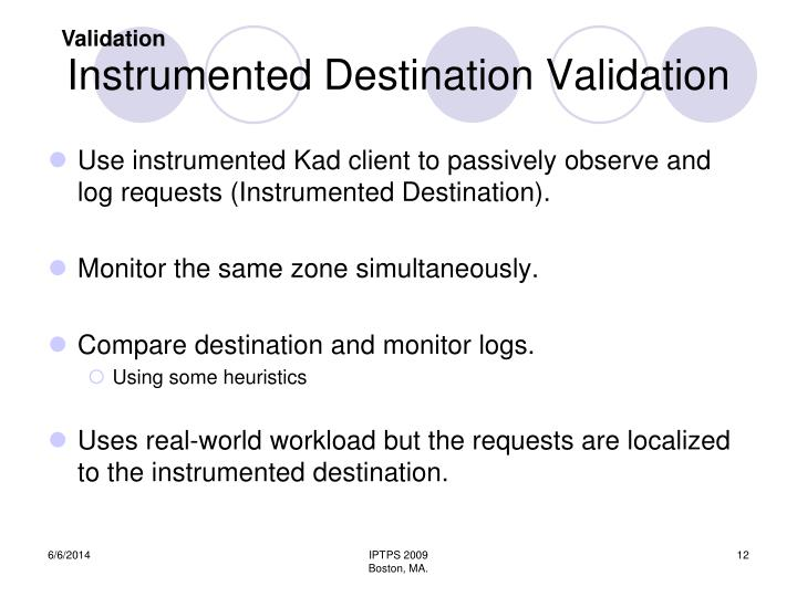 Instrumented Destination Validation