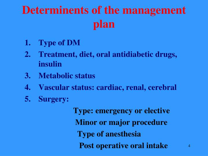 Determinents of the management plan