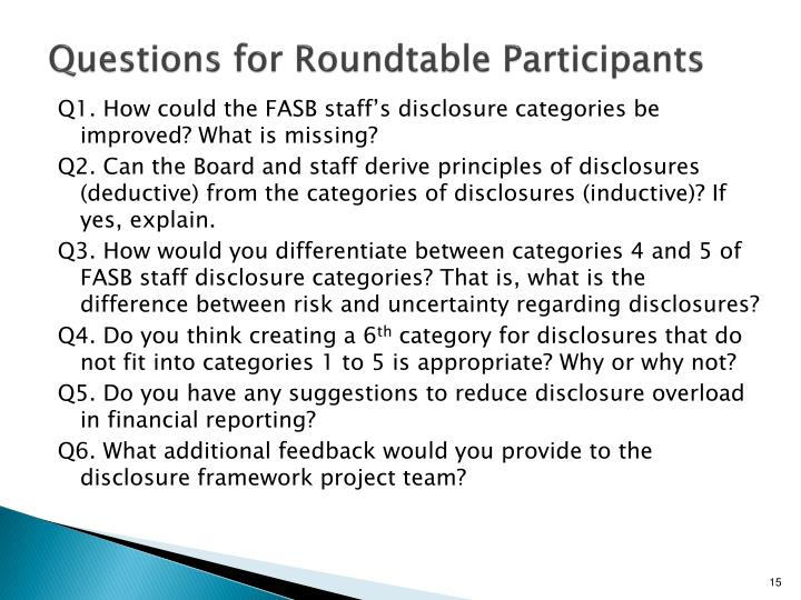 Questions for Roundtable Participants