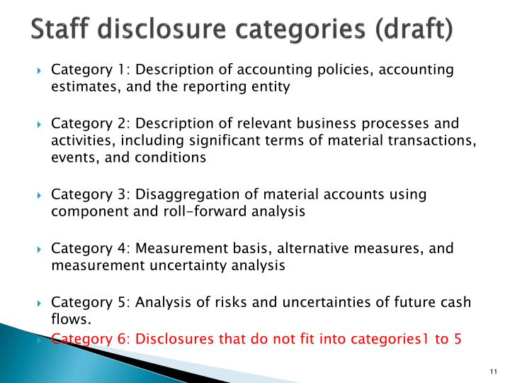 Staff disclosure categories (draft)