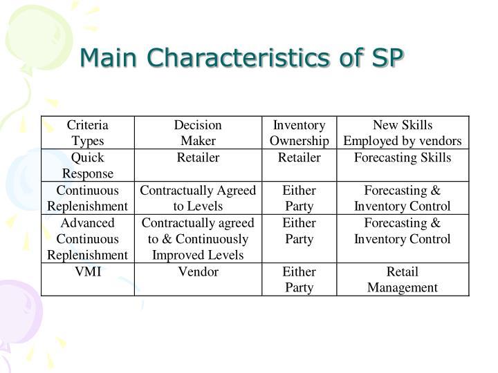 Main Characteristics of SP