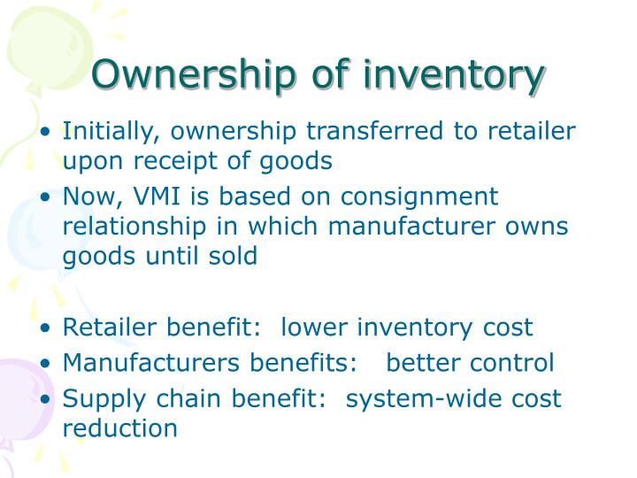 Ownership of inventory