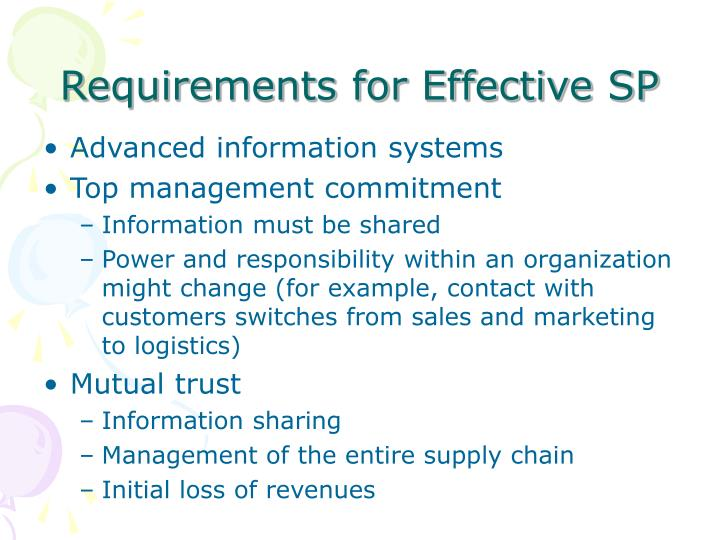 Requirements for Effective SP