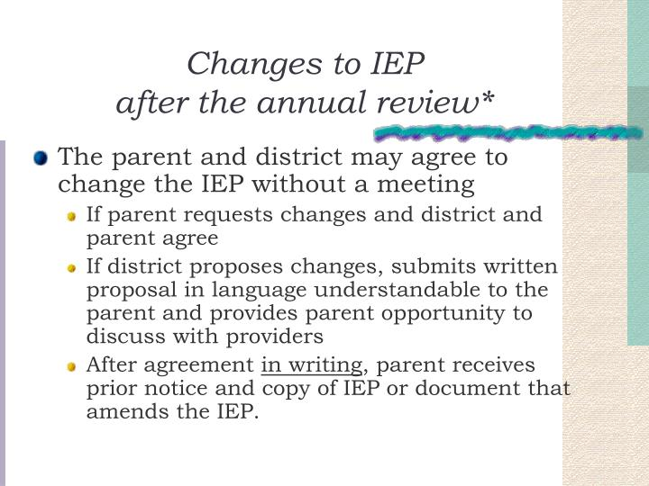 Changes to IEP