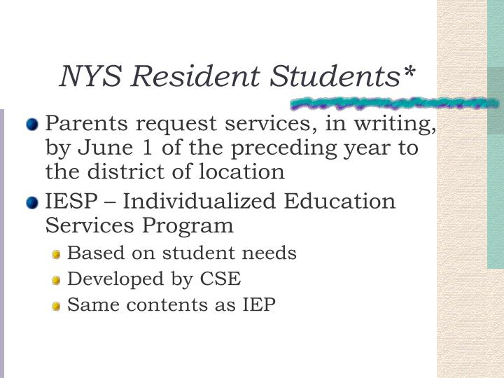 NYS Resident Students*