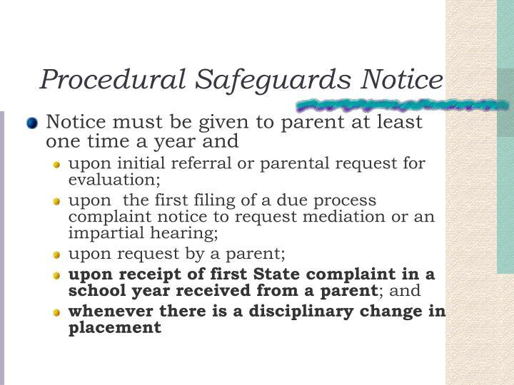Procedural Safeguards Notice