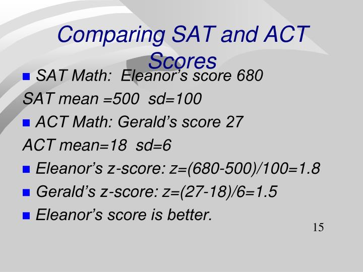 Comparing SAT and ACT Scores