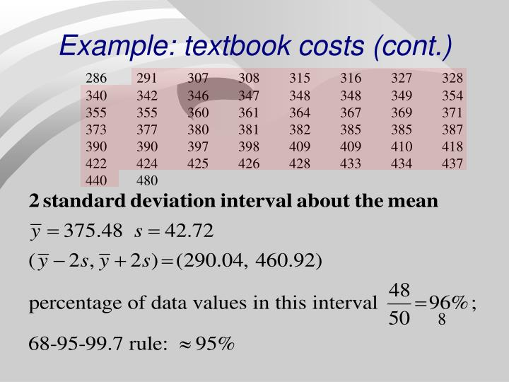 Example: textbook costs (cont.)