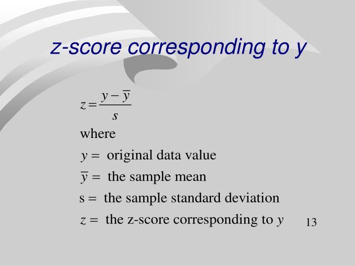 z-score corresponding to y