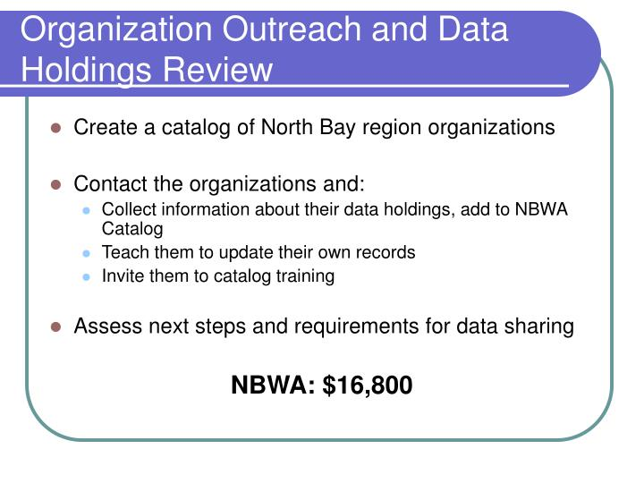 Organization Outreach and Data Holdings Review
