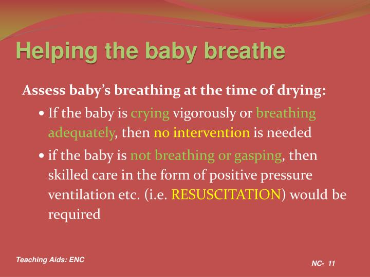 Helping the baby breathe