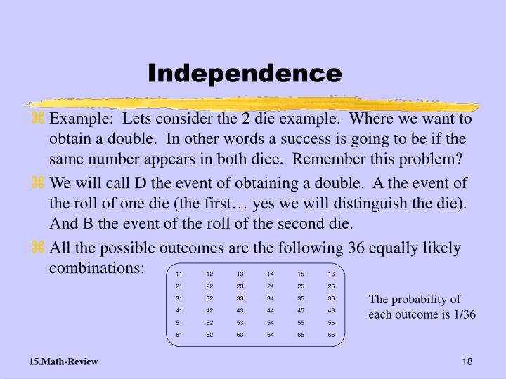 The probability of each outcome is 1/36
