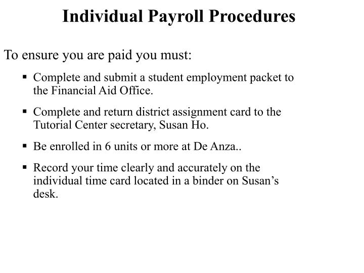 Individual Payroll Procedures