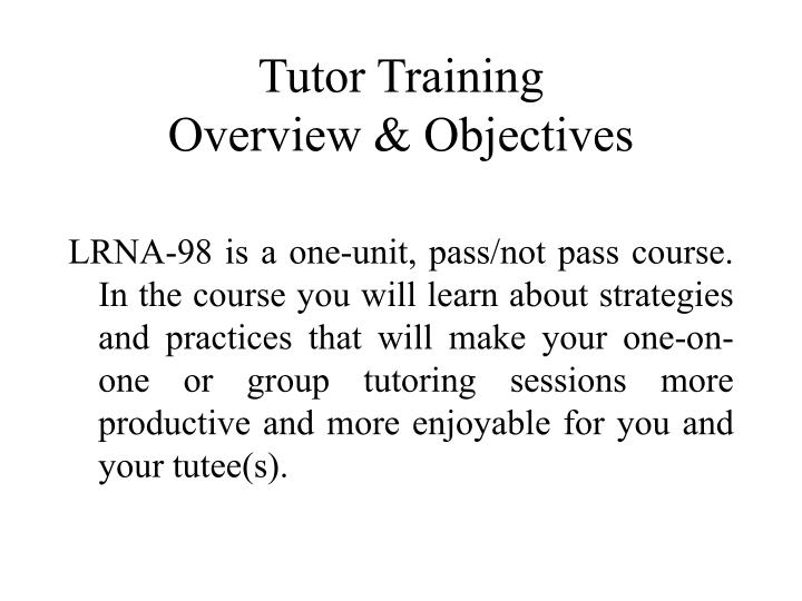 Tutor Training