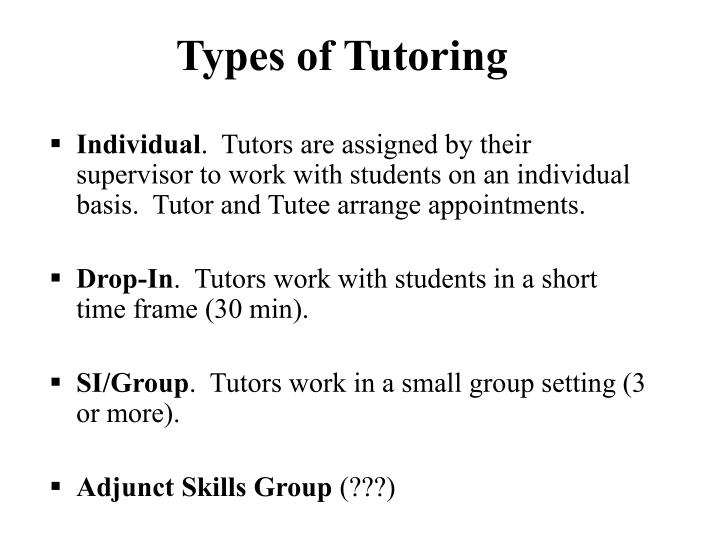 Types of Tutoring