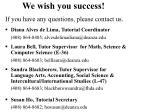 we wish you success