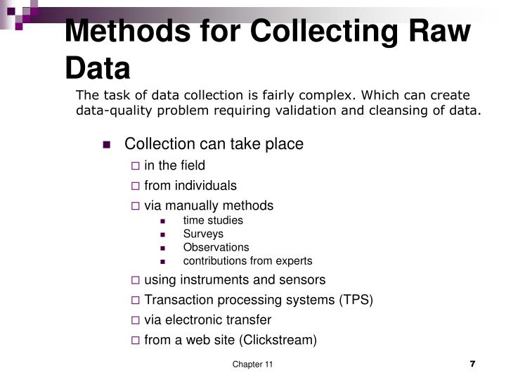 Methods for Collecting Raw Data