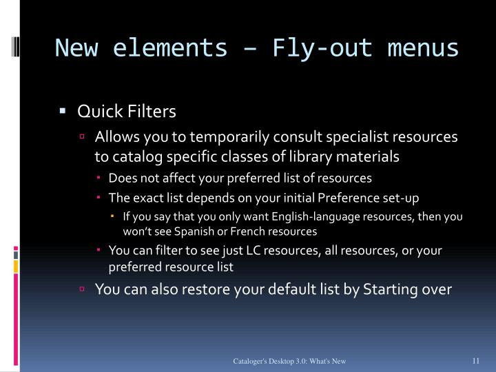 New elements – Fly-out menus